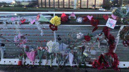 Tributes to Megan Younger-Watson at the Sir Bobby Robson bridge in Ipswich