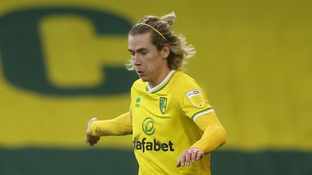 Todd Cantwell of Norwich in action during the Sky Bet Championship match at Carrow Road, NorwichPi