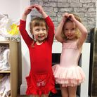Izabel and Halle practising ballet moves at The Nursery