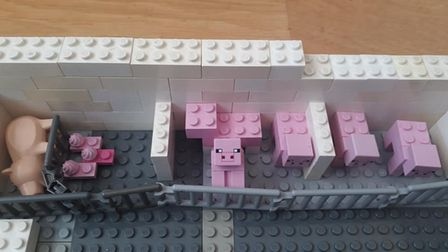 Oliver and Benji's depiction of a factory farm in Lego