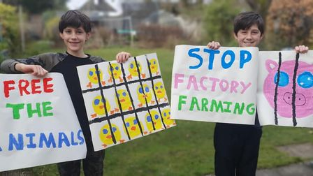 Oliver (left) and Benji (right) have used their lockdown to raise awareness surrounding the practice of factory farming