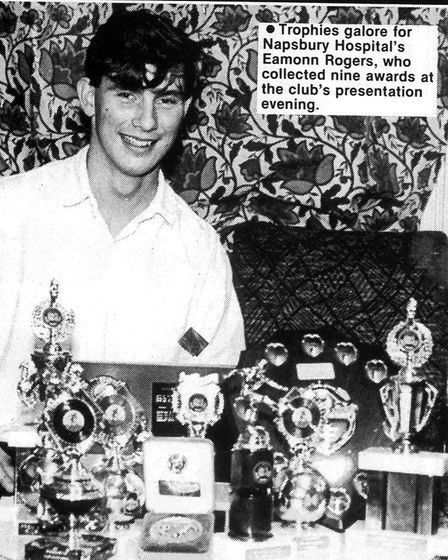 Eamonn Rogers with his haul of trophies from Napsbury Hospital presentation evening