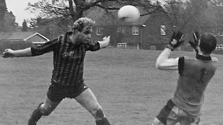 Alan Easterbrook gets his 300th Herts Ad Sunday League goal.