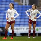 Arsenal's Lia Walti (left) and Leah Williamson react after the final whistle during the FA Women's S