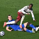 Leicester City's Caglar Soyuncu (left) and Arsenal's Nicolas Pepe battle for the ball during the Pre
