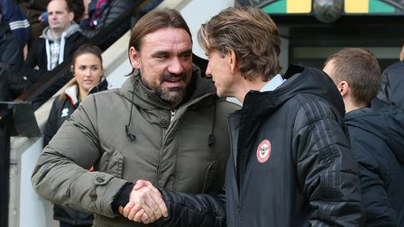 Norwich Head Coach Daniel Farke and Brentford Manager Thomas Frank before the Sky Bet Championship m