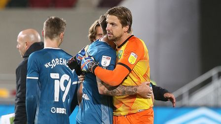 Jordan Hugill of Norwich and Tim Krul of Norwich at the end of the Sky Bet Championship match at the
