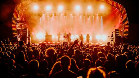 The main stage at Standon Calling festival at night.