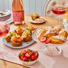 Hash Brown Cups with Smoked Salmon, Rose and Pistachio Madeleines and Sparkling Rose and Raspberry Cocktail