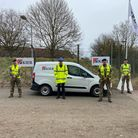 KIER and military personnel at Carver Barracks ready to deliver the much anticipated £1.25 million eight lane, floodlit sports facility.