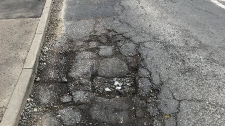 This pothole is at Duloe Road in St Neots.