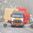 Abnormal load passes through Norfolk and Suffolk Parts of a crane are being transported between