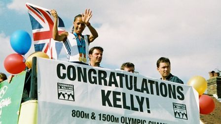 Kelly Holmes on parade, in Hildenborough, Kent, during her homecoming parade following the 2004 Summer Olympics.