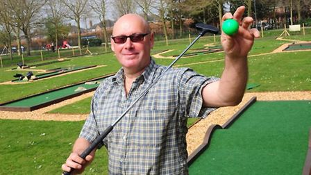 Rob Trown at the opening of Eaton Park Crazy Golf in 2014.