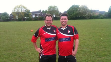 Head of sport at Suffolk New College, Lee Mandley and Ben Pugh playing for The Holbrook Swan