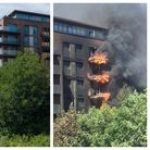 A 2018 fire at the Orwell building, in Camden's West Hampstead Square development.