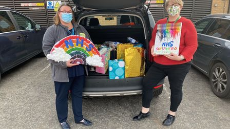 Michelle Fox and Mayespark Primary headteacher Emiley Davis dropped off the gifts last week.