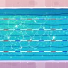 Sport pool, top view with blue ripped water, ceramics floor and lanes or paths for dip. Empty reserv