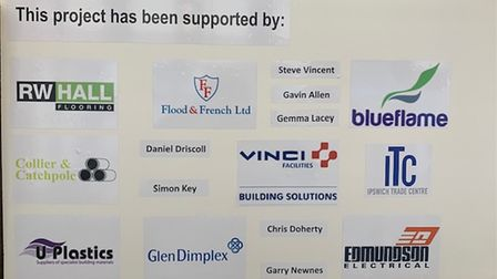 A notice board in the shop thanking the local businesses that helped support the project