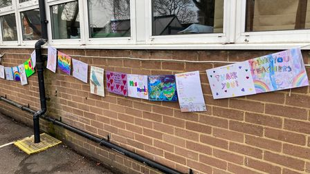 Cards hanging from a string outside Countess Anne Primary School