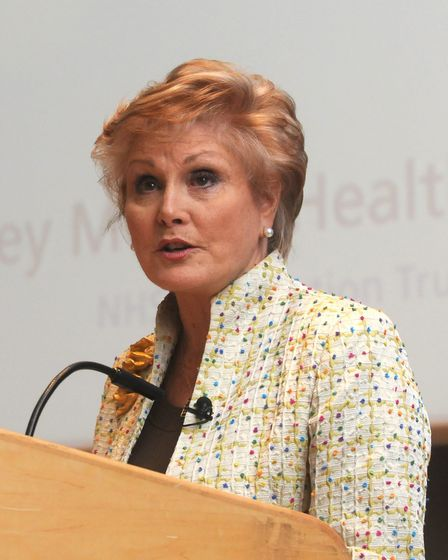 The I Care conference at the John Innes Centre. Angela Rippon with Georgina and Paul Wakefield. Photo: Paul Hewitt...
