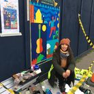 Colombian artist Catalina Carvajal painting the WAMfest mural in Hamilton Road, Felixstowe for International Women's Day...