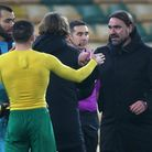 Emiliano Buendia of Norwich and Norwich Head Coach Daniel Farke at the end of the Sky Bet Championsh