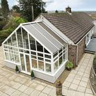 External view of a detached property in Dark Lane, Banwell, Weston-super-Mare. Conservatory with patio surround and brick...