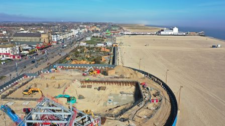 Drone image of new Marina Centre being built in Great Yarmouth