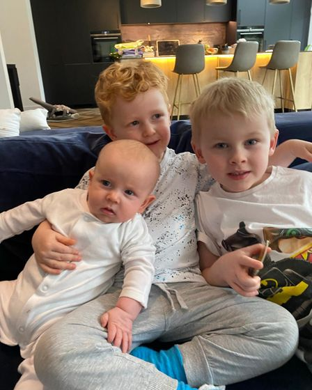 Picture of Drury siblings: five-month old Olly, five-year-old Theo and two-year-old Jack
