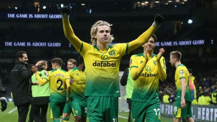 The Norwich players celebrate victory at the end of the FA Cup match at Tottenham Hotspur Stadium, L