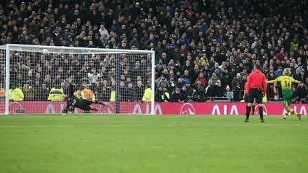 Todd Cantwell of Norwich score his spot kick during the penalty shoot out at the end of the FA Cup m