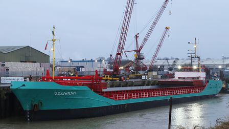 The Douwent was the first vessel to arrive at the Port of Wisbech in February.