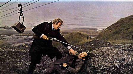 Caine and Ian Hendry in Get Carter's dramatic climax at the coal conveyer lift on the East Durham coast