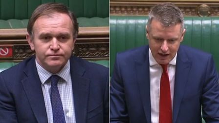 Environment secretary George Eustice (L) and Labour's Luke Pollard in the House of Commons