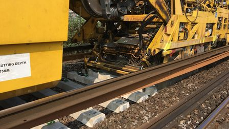 Network Rail's track relaying system will replace over two miles of track between Stansted and Broxbourne