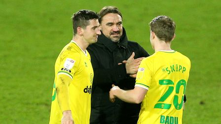 Norwich City manager Daniel Farke (centre) with Oliver Skipp (right) and Kenny McLean after the Sky