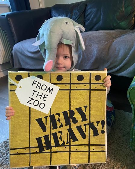 A kid dressed as an elephant fromDear Zoo for World Book Day