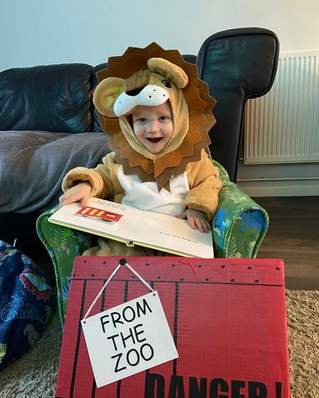 A kid dressed as a Lion fromDear Zoo for World Book Day