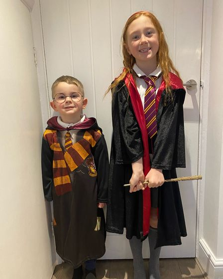 Two kids dressed as Harry Potter characters for World Book Day