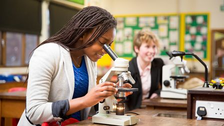 A student studying science at Thetford Grammar School