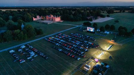 A drone image of The Luna Drive In Cinema at Knebworth House in Hertfordshire