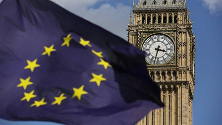 A European Union flag in front of Big Ben at an anti-Brexit event. Photograph: Daniel Leal-Olivas/PA.