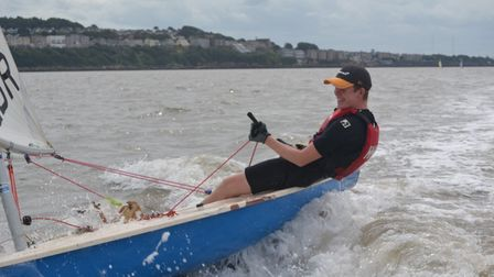A Clevedon Sailing Club member on the water.