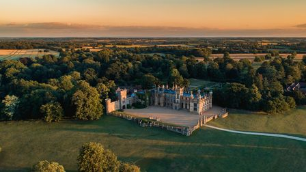 A drone image of Knebworth House in Hertfordshire.