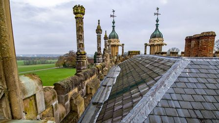 The roof of Knebworth House in Hertfordshire.