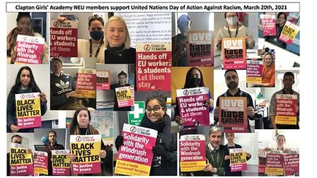 Hackney teachers show support against racism.