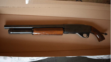 A double-barrel shotgun seized from Darren Dixon's Highgate Road home.
