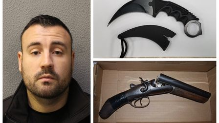 Darren Dixon, with the sawn-off shotgun and a knife recovered from his Kentish Town home
