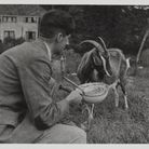 George Orwell in Wallington, Hertfordshire in 1939 with one of his and Eileen's goats